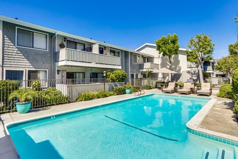 Swimming Pool at Baywind Apartment Homes in Costa Mesa, California.