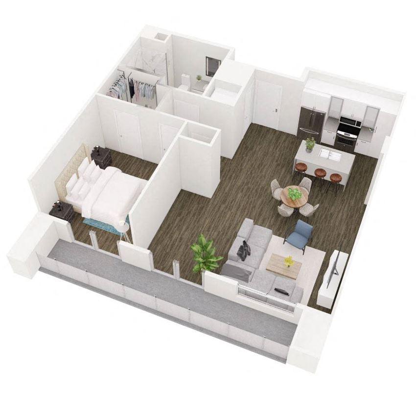 1 Bedroom 1 Bathroom Floor Plan at The Q Variel, Woodland Hills, CA, 91367