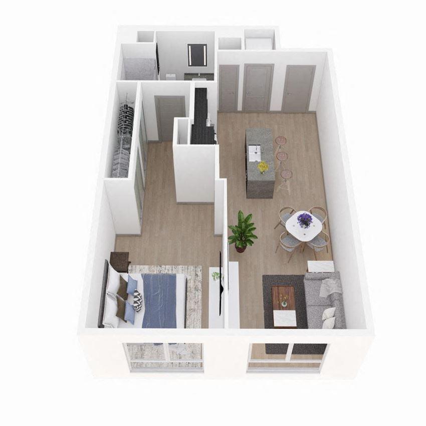 1 Bedroom 1 Bathroom Floor Plan at The Q Variel, Woodland Hills, California