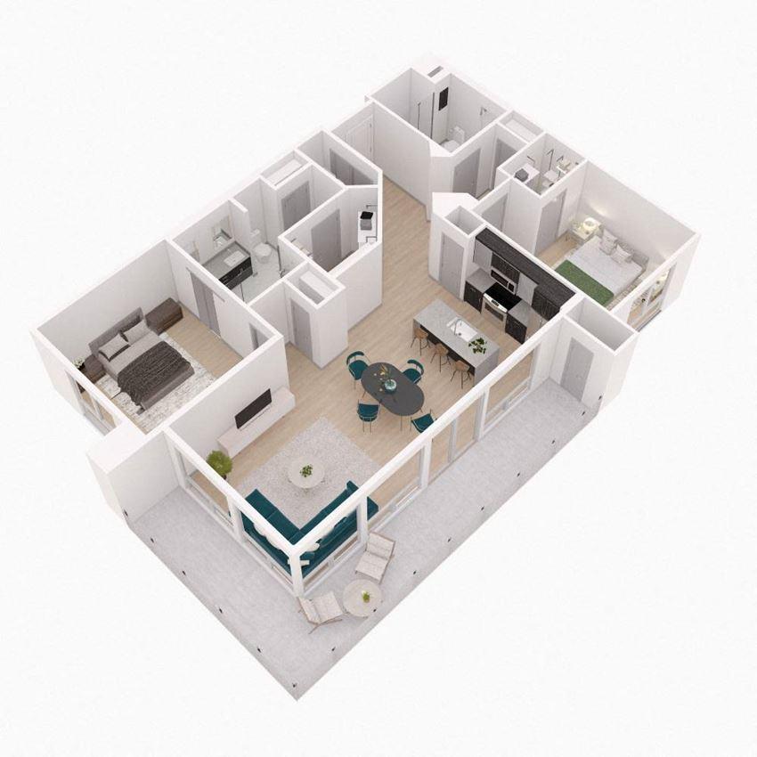 2 Bedroom 2 Bathroom Floor Plan at The Q Variel, Woodland Hills, CA