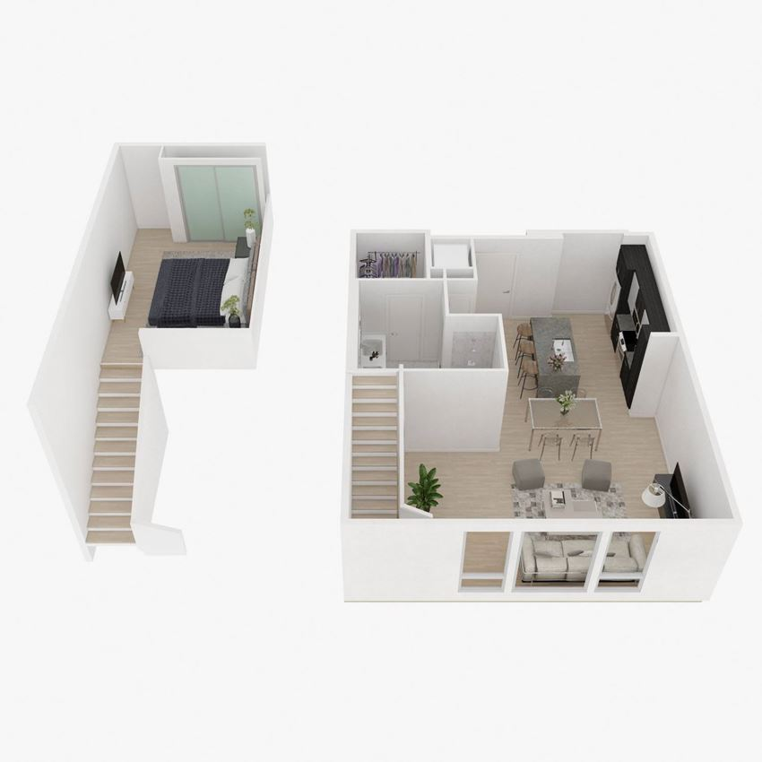 loft-three 1 Bed 1 Bath Floor Plan at The Q Variel, Woodland Hills, 91367