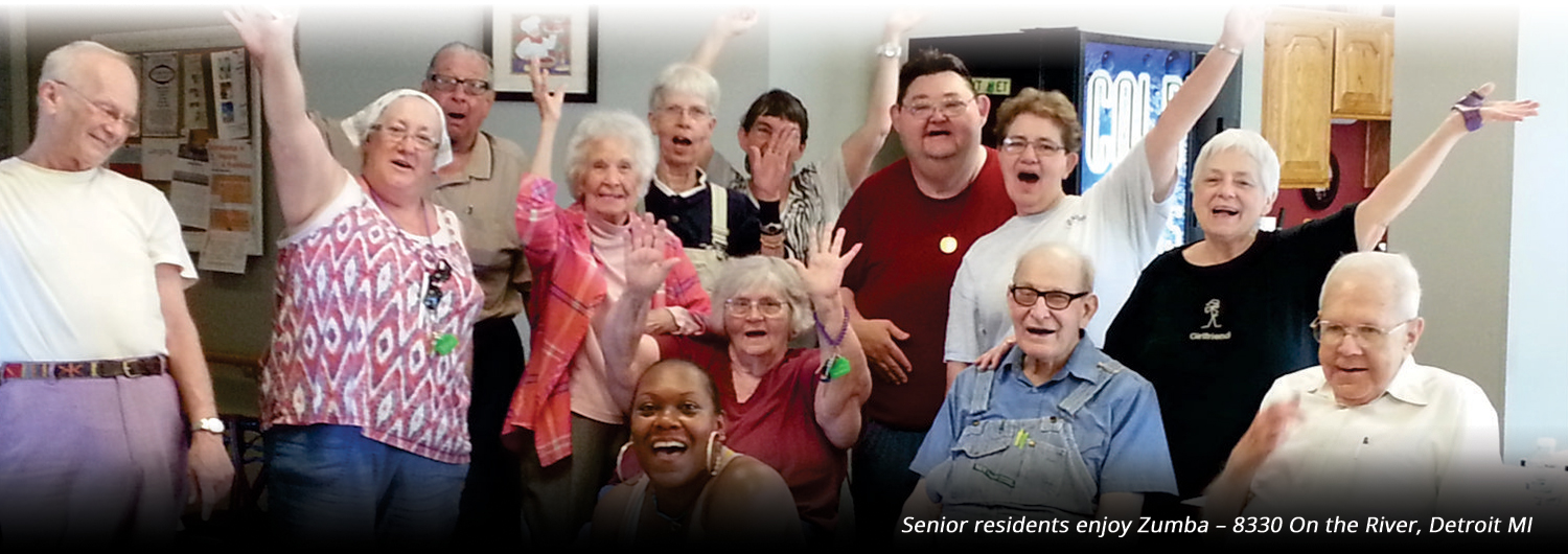 POAH Banner Image of senior residents enjoying a zumba class
