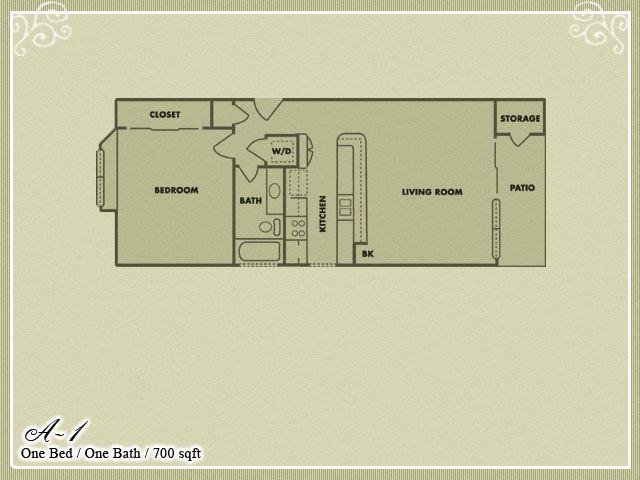 Meadow Green Apartments 1 Bedroom 1 Bathroom floor plan