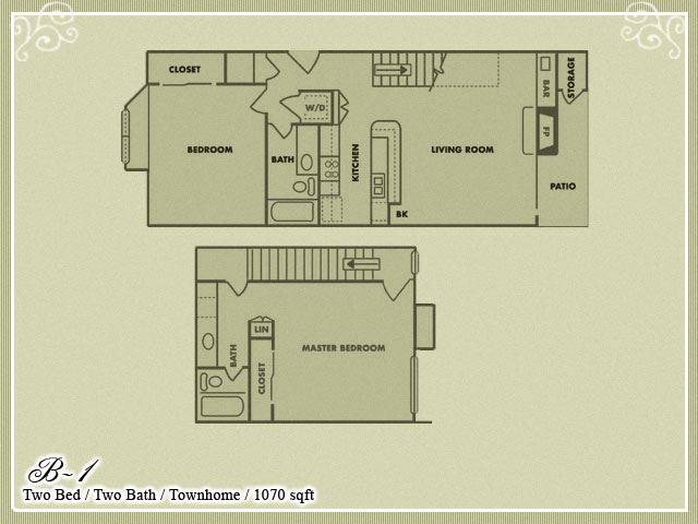 Meadow Green Apartments 2 Bedroom 2 Bathroom floor plan