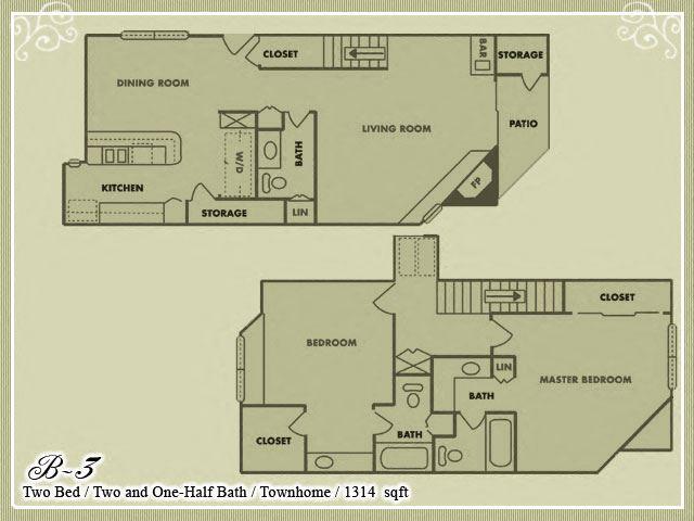Meadow Green Apartments 2 Bedroom 2.5 Bathroom floor plan