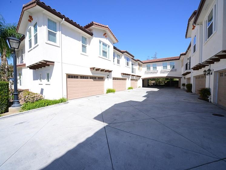 Parkside Villas exterior building driveway and garages