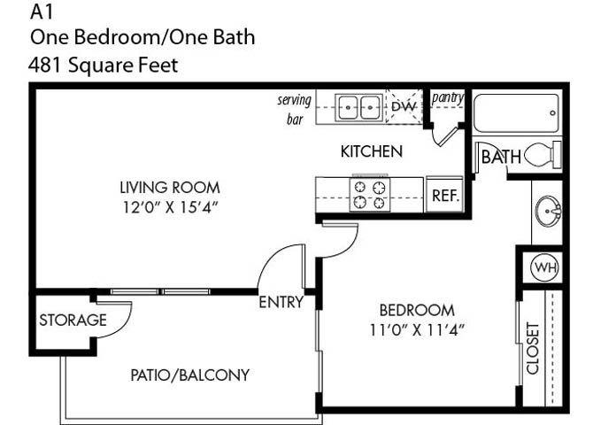 1 Bedroom 1 Bathroom A-1