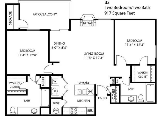 2 Bedroom 2 Bathroom B-2