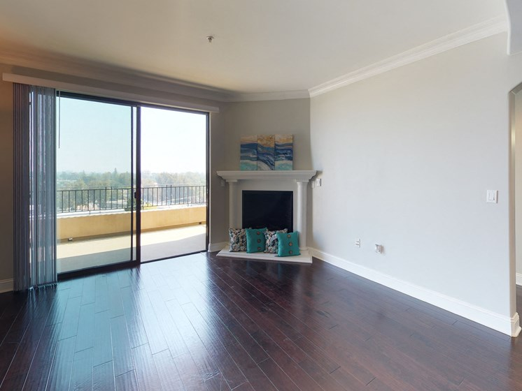 Vista Paradiso three bedroom unit living room with fireplace and sliding doors