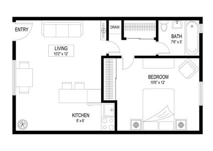 This is the Bruin floorplan 1 bedroom 1 bath bath with vinyl wood floorings.
