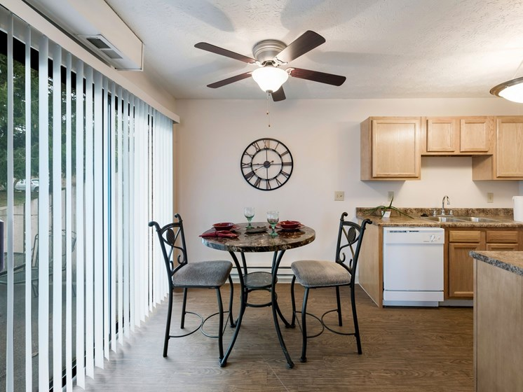 Fully Equipped Kitchen And Dining at Ashley Village Apartments, Columbus, OH, 43232