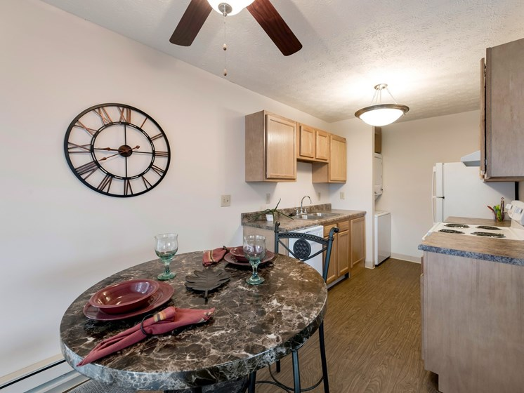Dining Room and Kitchen View at Ashley Village Apartments, Ohio, 43232