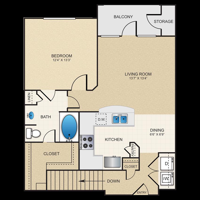 1 bedroom, 1 bathroom, garage