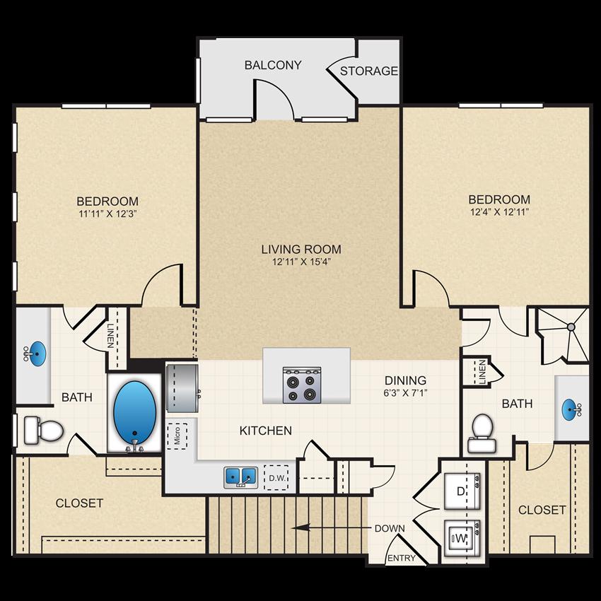 2 bedroom, 2 bathroom, garage