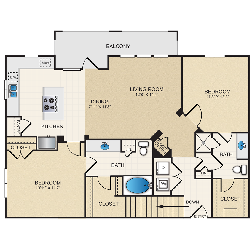B2G floorplan: 2 bedroom, 2 bathroom, garage