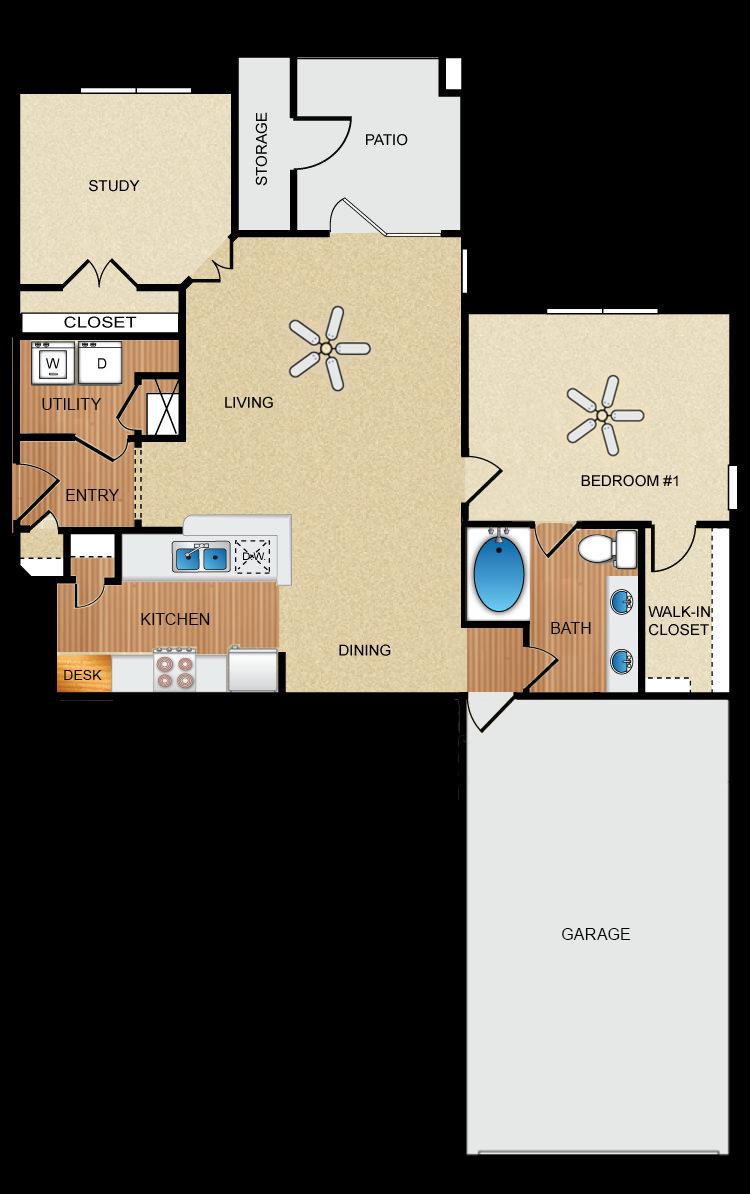 1 bedroom, 1 bathroom, study