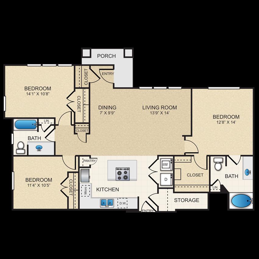 C1 Floor Plan, 3 bedroom, 2 bathroom, 1st floor