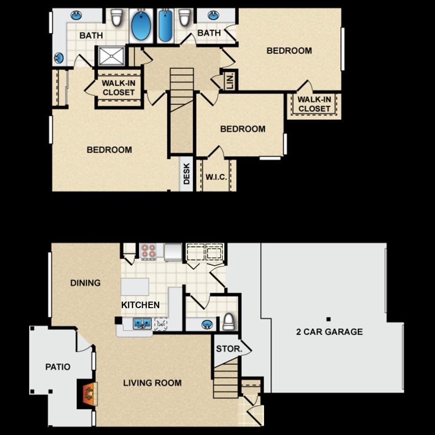 3 bedroom, 2.5 bathroom, townhome