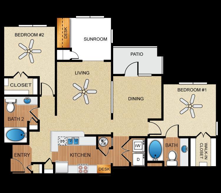 2 bedroom, 2 bathroom, sunroom