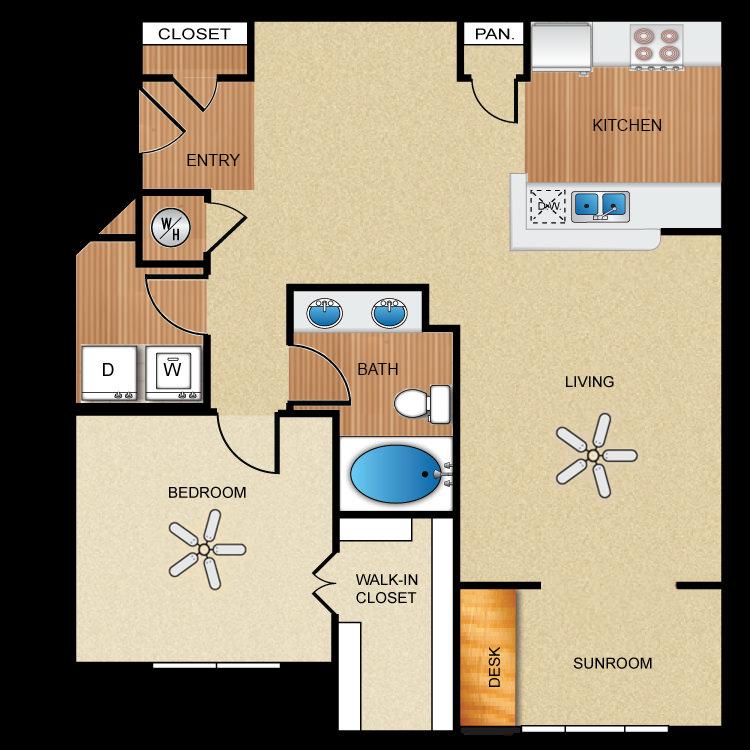 1 bedroom, 1 bathroom, sunroom