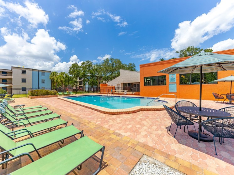 Pool Side Relaxing Area With Sundeck at Harlow at Gateway, St. Petersburg, FL