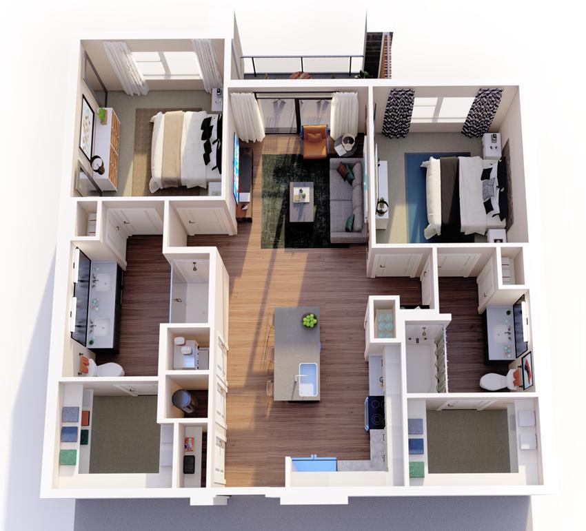 b1_floor plan in luxury fort worth apartment
