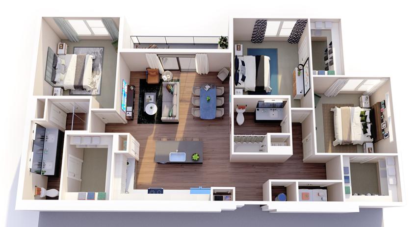 c1_floor plan in luxury fort worth apartment