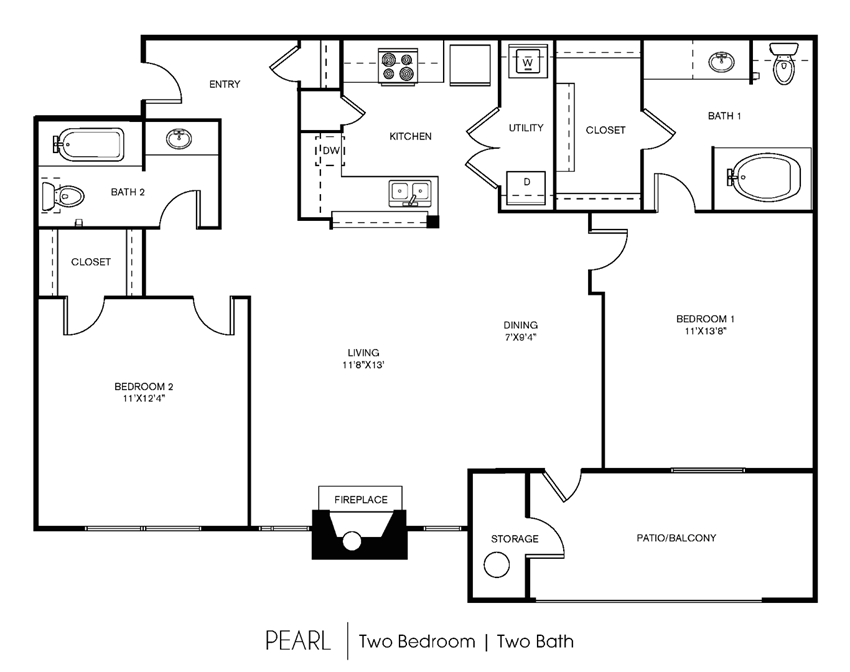 B4C Floor Plan at Elan Apartment Homes, Austin, TX