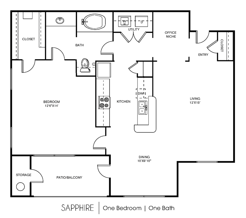 Saphire Floor Plan at Elan Apartment Homes, Austin, TX, 78750