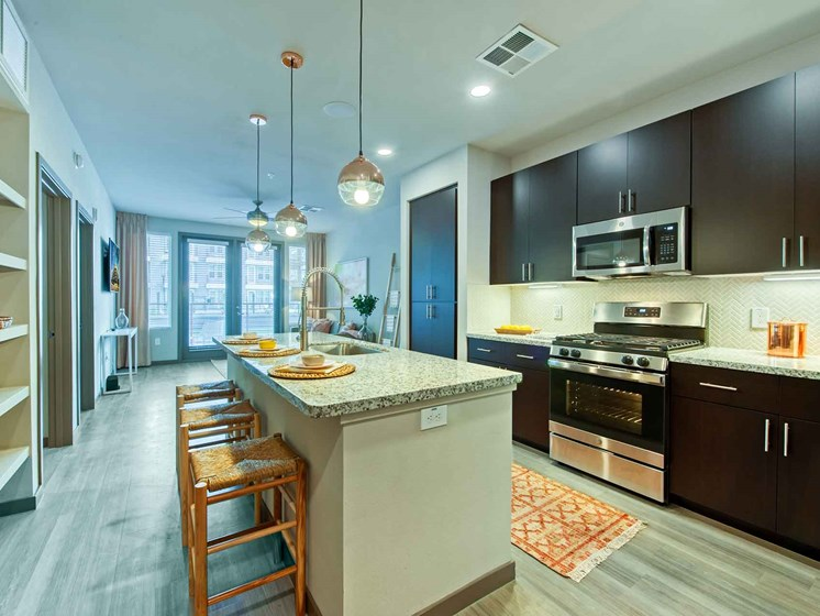 Fitted Kitchen With Island Dining at Centra Midtown Phoenix, Arizona, 85012