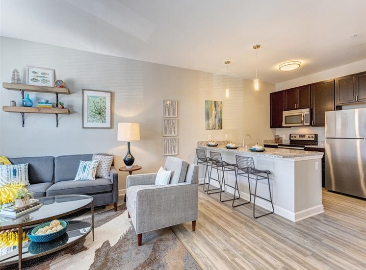 Kitchen and Living Room View at Whetstone Flats, Nashville, 37211