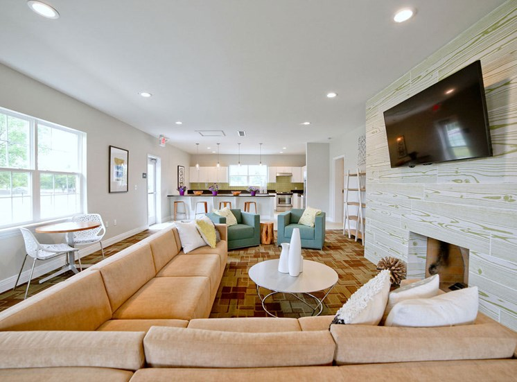 Resident Lounge with Media at Gramercy, Carmel, Indiana
