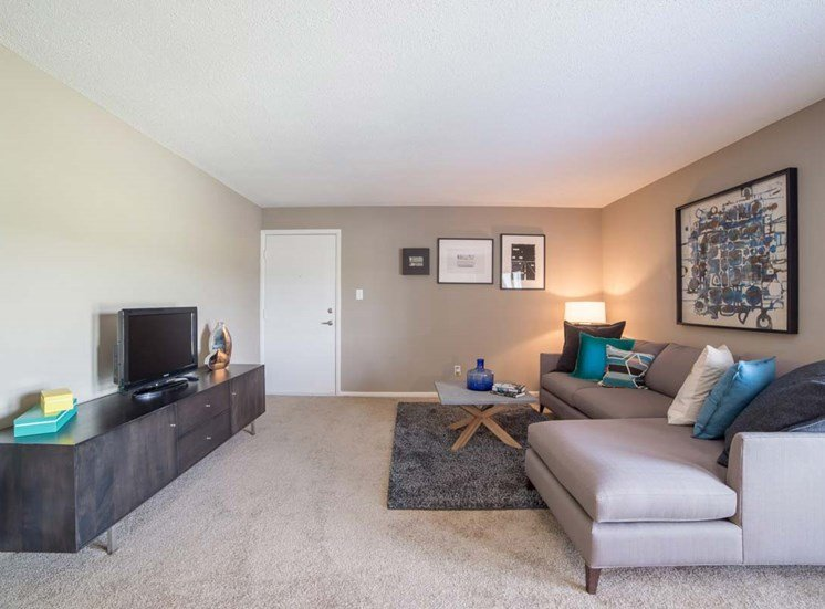 Living Room With Television at Gramercy, Carmel, Indiana