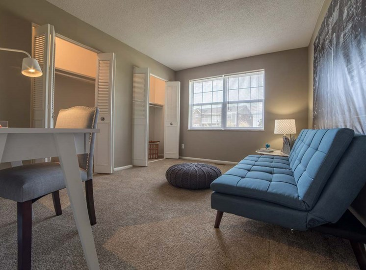 Living Room With Comfortable Sofa at Gramercy, Carmel, IN, 46032