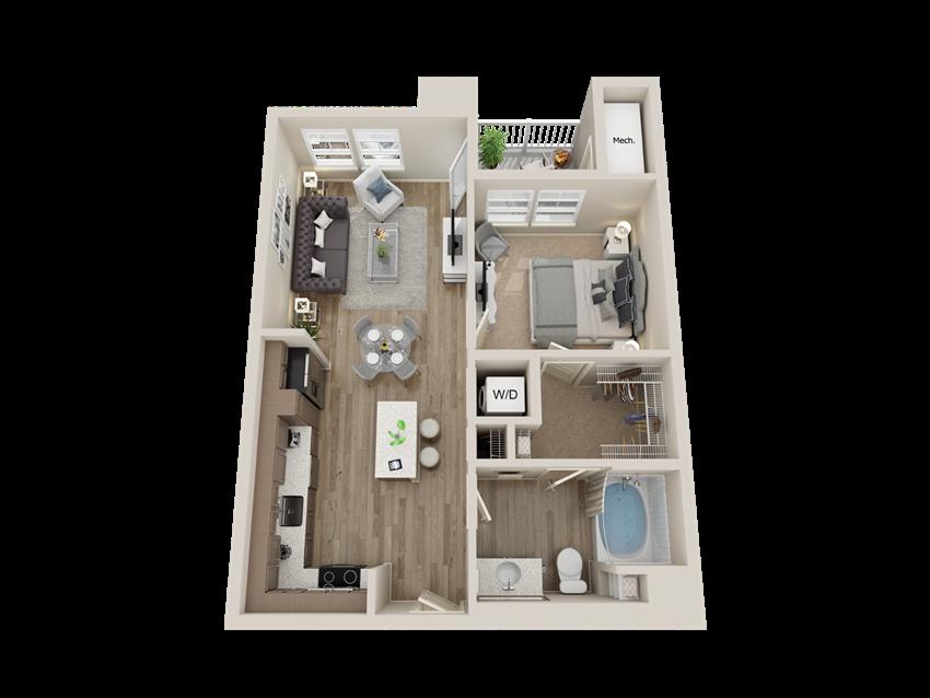 One bedroom floor plan l Sacramento CA Apartment Rentals