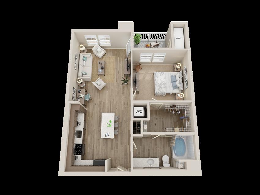 One bedroom floor plan l Alira Apartments for rent in Sacramento Ca