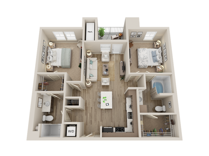 two bedroom floor plan l Alira Apartments in Sacramento Ca