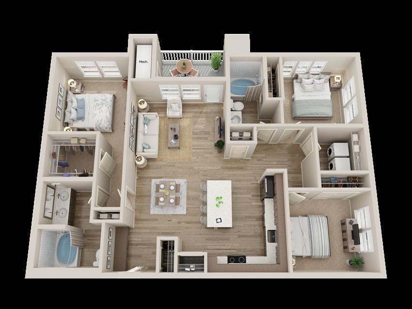 three bedroom floor plan l Alira Apartments for rent in Sacramento Ca