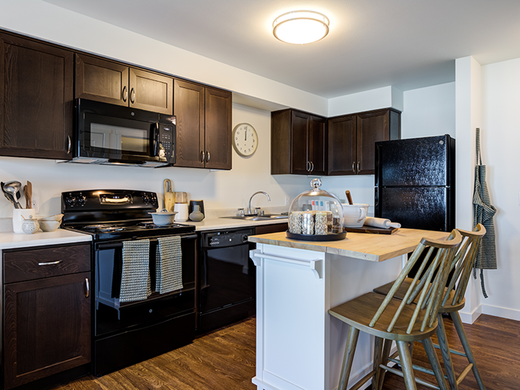 Apartments for Rent in SeaTac, WA- Heights by Vintage Apartments Kitchen with Energy Efficiant Appliances and Stainless Steel Fixtures