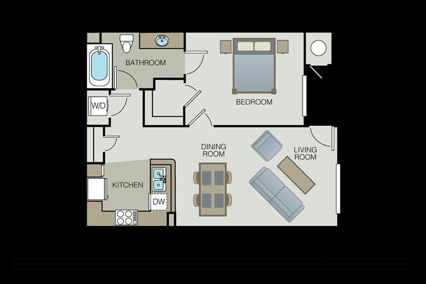 One bedroom floor plan l Hidden Valley Apartments in Simi Valley Ca