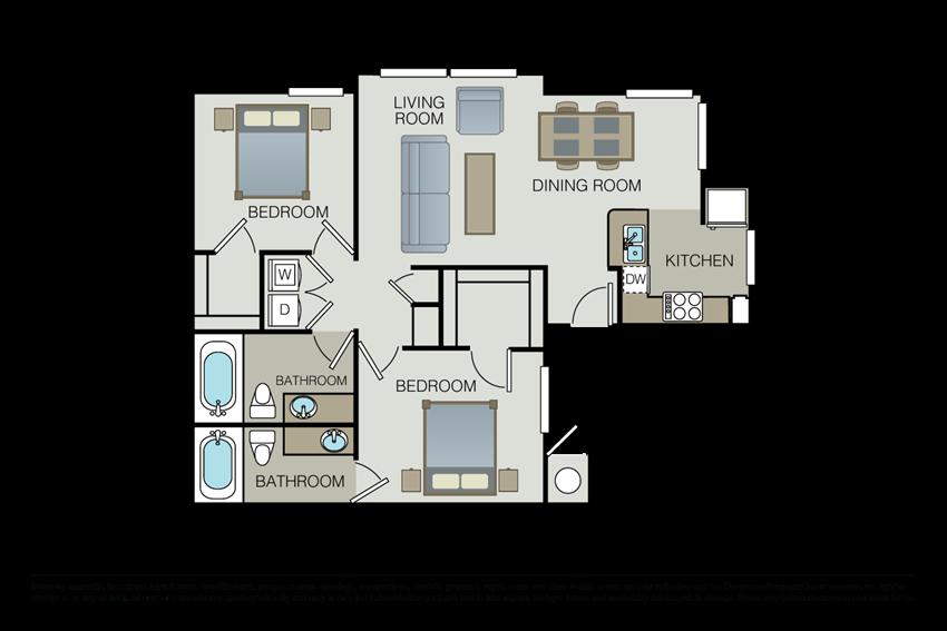 Two bedroom floor plan l Hidden Valley Apartments in Simi Valley Ca