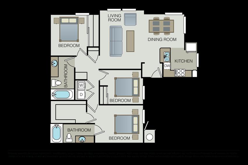 Three bedroom floor plan  l Hidden Valley Apartments in Simi Valley Ca
