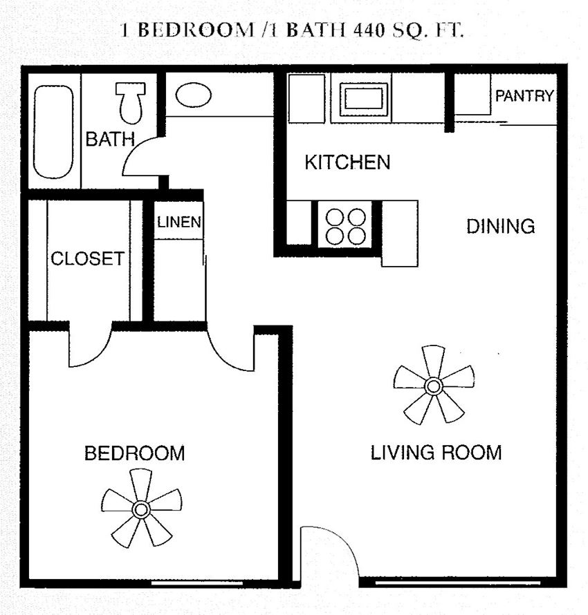 1 Bed 1 Bath 440 square feet floor plan