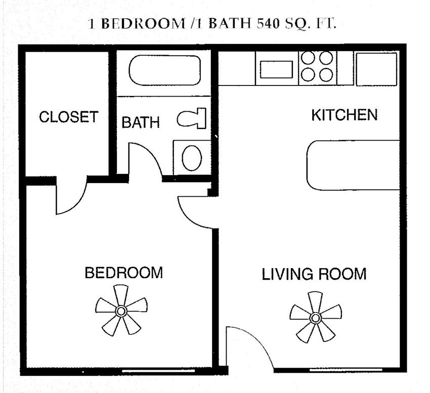 1 Bed 1 Bath 540 square feet floor plan