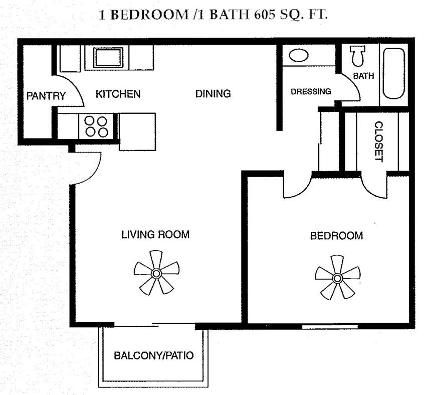 1 Bed 1 Bath 605 square feet floor plan