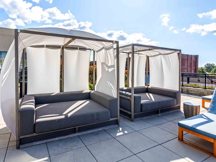 Covered cabanas on pool deck