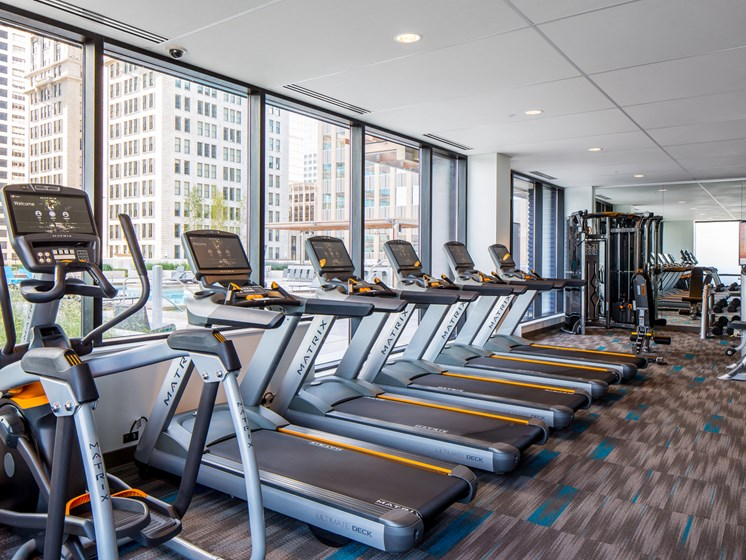 fitness center with outdoor views