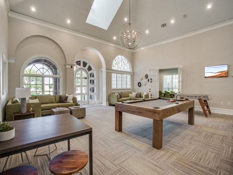 Lounge With Pool Table at The Gio, Plano