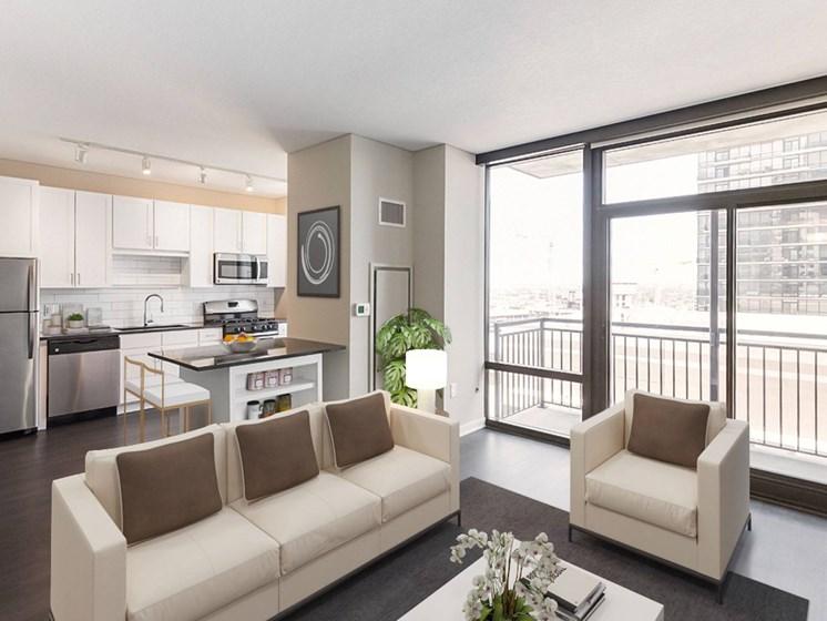 living room with large balcony window