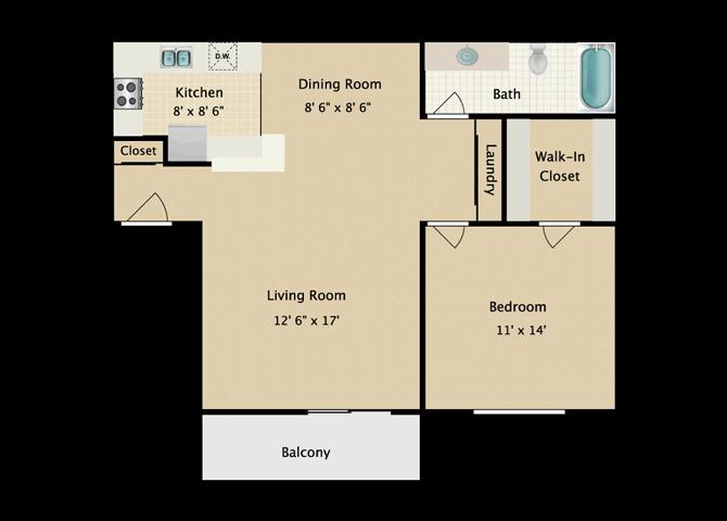 Aya 1 Bedroom 1 Bath B Floor Plan